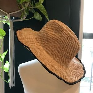 Zara Woven Hat, Natural with Black Wired Brim